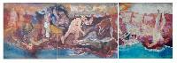 ;La Resistenza nelle Apuane; 1965 acrilico su cartone su 3 pannelli di compensato totale 10x3 m