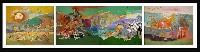 ;La stoira dell Uomo; 1974 acrilico su cartone incollato su 3 pannelli di compensato totale 11.50x3 m